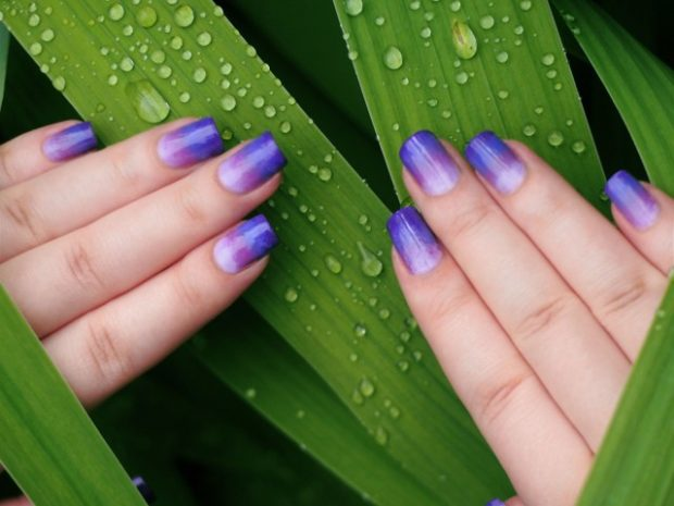 омбре фиолетовый с синим - дизайн ногтей шеллак 2018