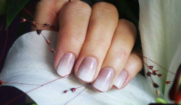 омбре беж с белым - дизайн ногтей шеллак 2018