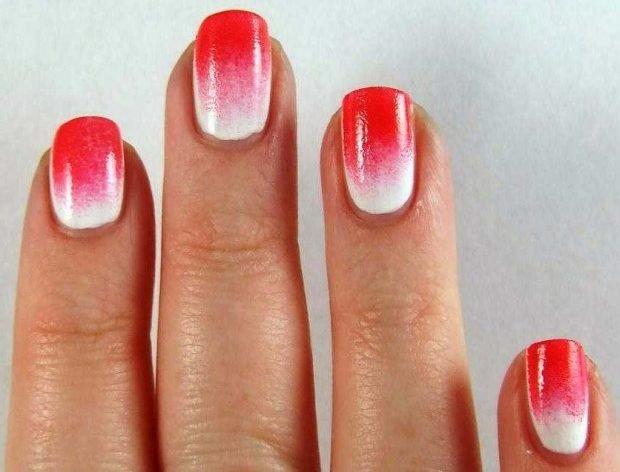 омбре красное с белым - дизайн ногтей шеллак 2018