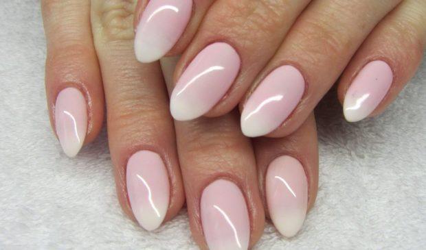 нюд омбре розовый - дизайн ногтей шеллак 2018
