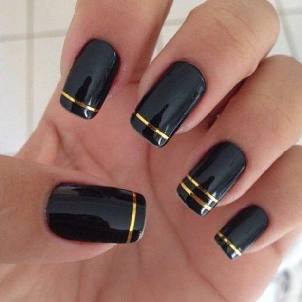 маникюр скотч-лента черный лента золотая - дизайн ногтей шеллак 2018