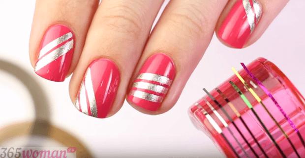 маникюр скотч-лента розовый с серебром - дизайн ногтей шеллак 2018 2019