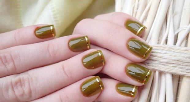 маникюр скотч-лента зеленый с золотом - дизайн ногтей шеллак 2018