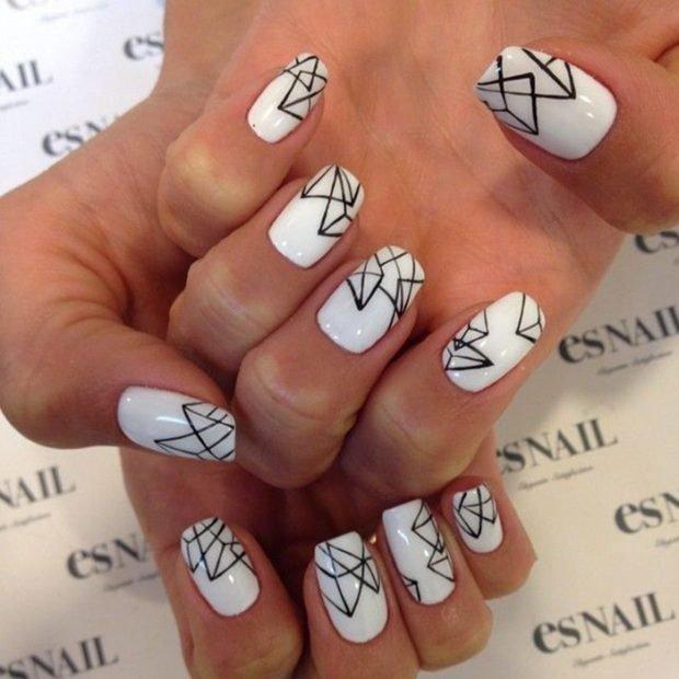 маникюр геометрия белый с черным - дизайн ногтей шеллак 2018