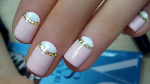маникюр лунный розовый с белым - дизайн ногтей шеллак 2018 2019