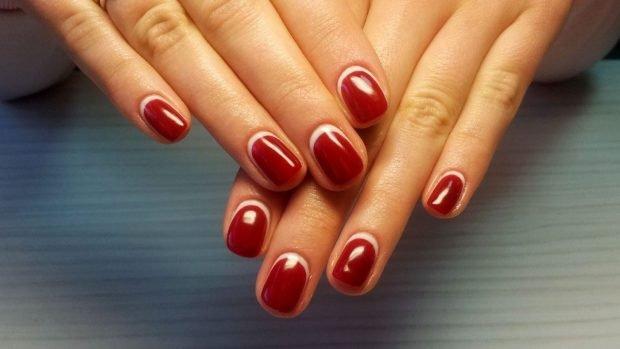 маникюр лунный красный с белой лункой - дизайн ногтей шеллак 2018 2019