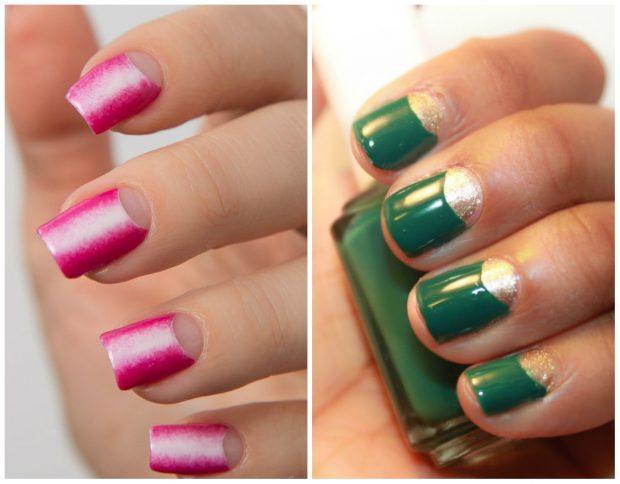 маникюр лунный розовый с прозрачной лункой зеленый с серебряной лункой - дизайн ногтей шеллак 2018 2019