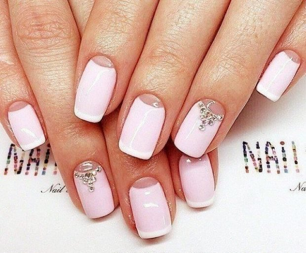 маникюр лунный бледно-розовый лунка прозрачная - дизайн ногтей шеллак 2018 2019