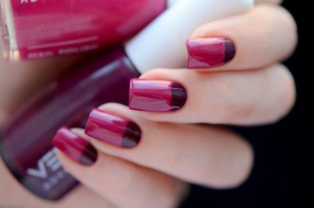 маникюр лунный розовый с бордовым - дизайн ногтей шеллак 2018