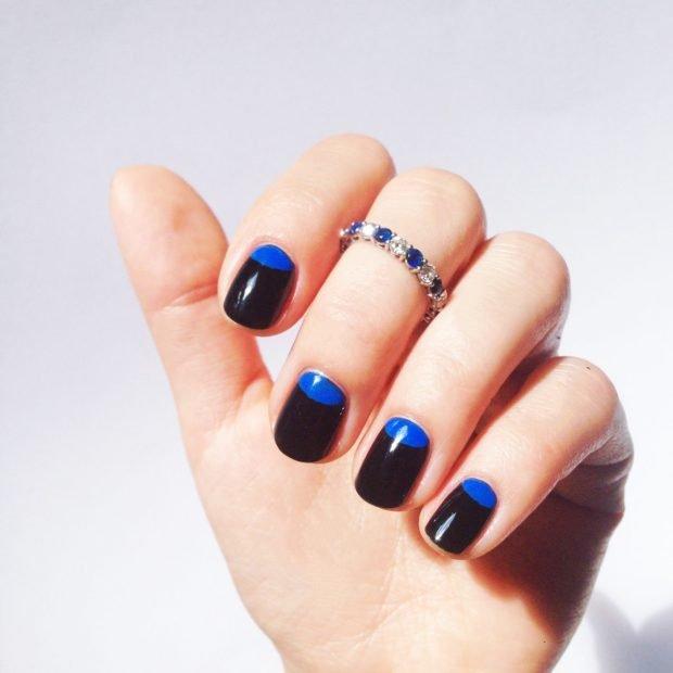 маникюр лунный черный с синим