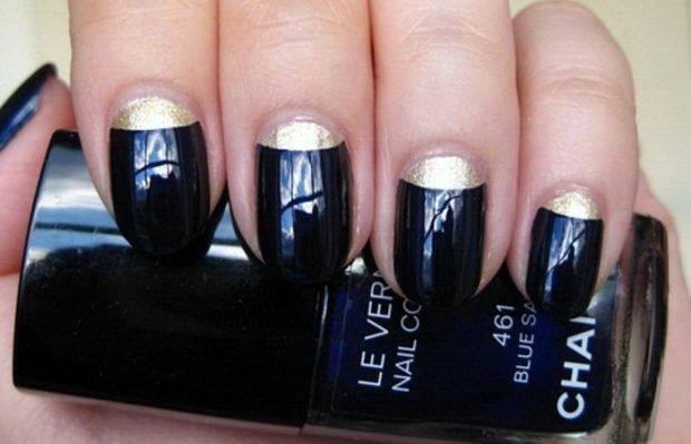маникюр лунный черный с золотом - дизайн ногтей шеллак