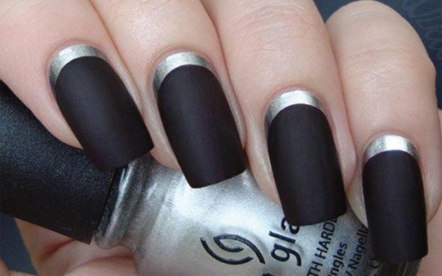 маникюр лунный черный с серебром - дизайн ногтей шеллак
