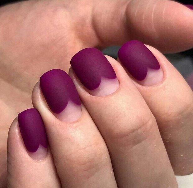 матовый маникюр малиновый - дизайн ногтей шеллак