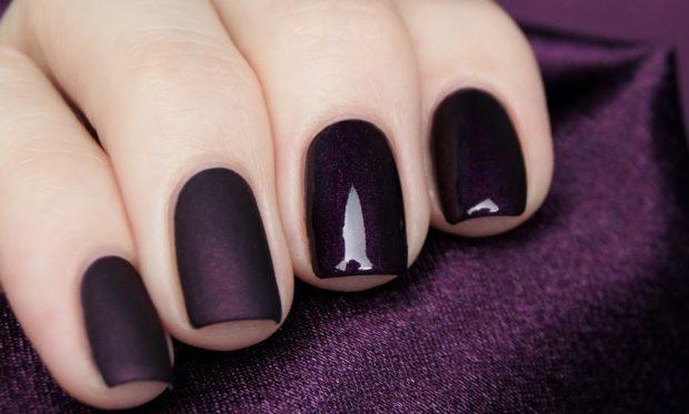 матовый маникюр темно-бордовый с глянцем - дизайн ногтей шеллак