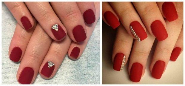 матовый маникюр красный с камушками - дизайн ногтей шеллак