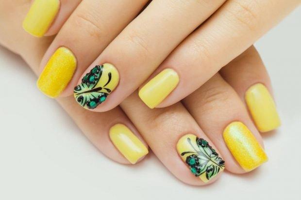 маникюр дизайн ногтей шеллак: желтые ногти с рисунком
