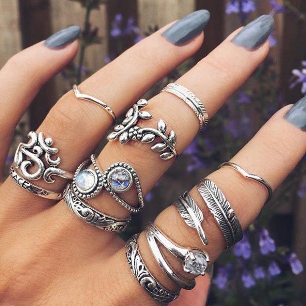 кольца серебряные на все пальцы