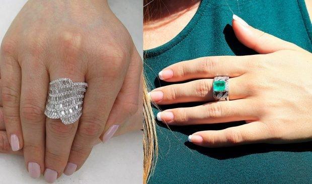 кольцо на среднем пальце массивное серебро с камушками серебро с зеленым камнем