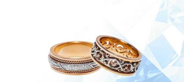 обручальное кольцо из золота белого и красного с узорами