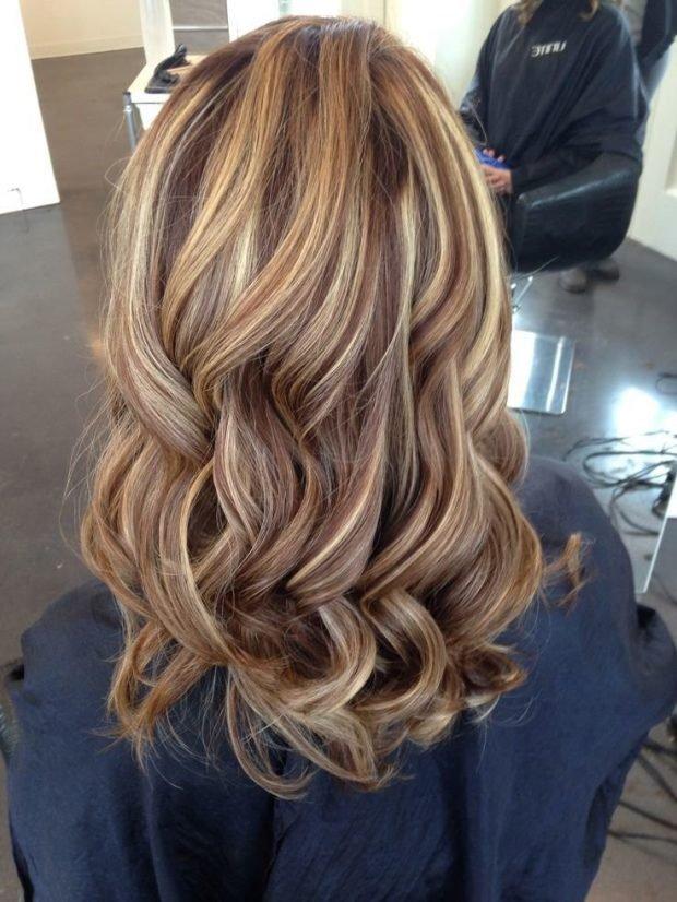 Мелирование волос 2019 коричневое с белым