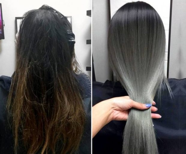 мелирование волос 2020 серое