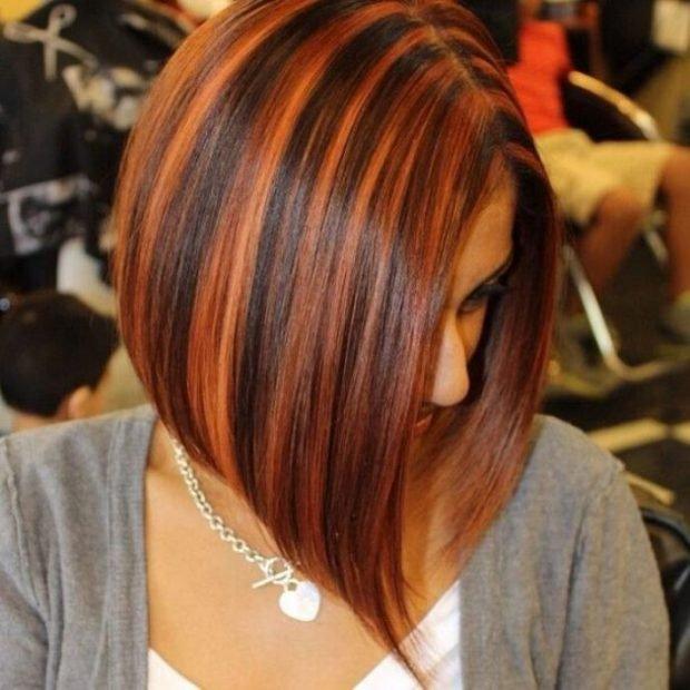 модное мелирование волос 2018 рыжий черный