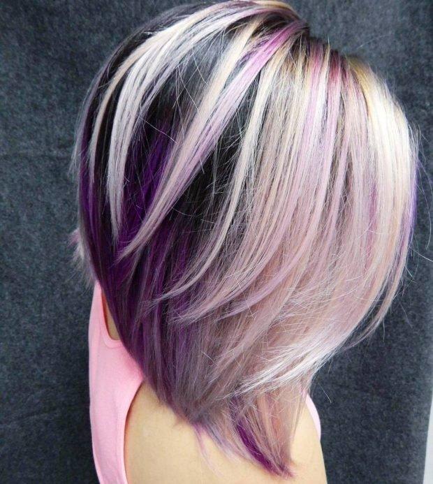 модное мелирование волос 2019 белое фиолетовое