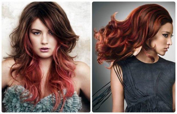 модное мелирование волос 2020 красное