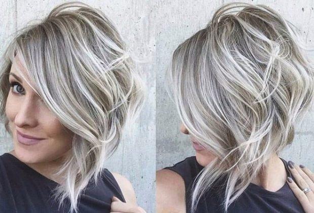 Мелирование волос 2020 белое с холодным серым