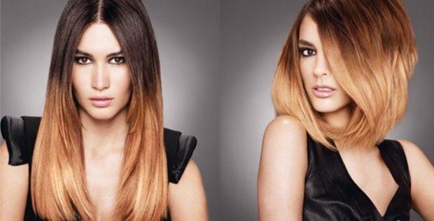 мелирование волос 2020 омбре светлый каштан
