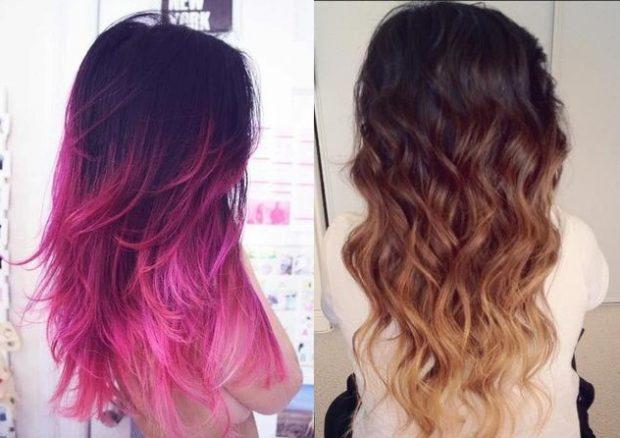 мелирование волос 2018 омбре фиолетовое светлое