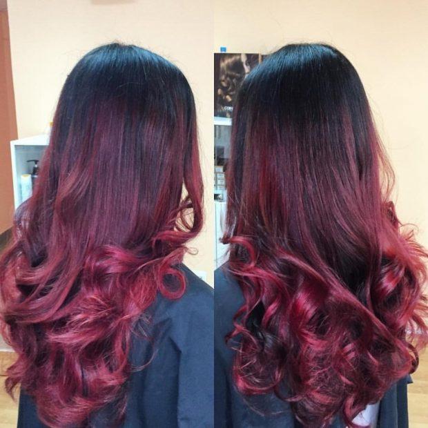 мелирование волос 2018 омбре бордовое