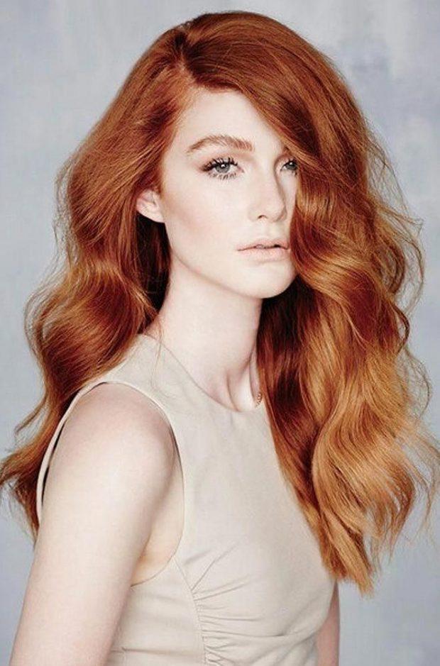 мелирование золотое на рыжих волосах