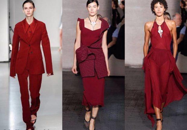 красная мода брючный костюм юбка и жакет топ и юбка