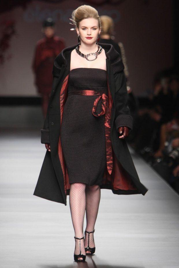 черное платье под пальто в тон