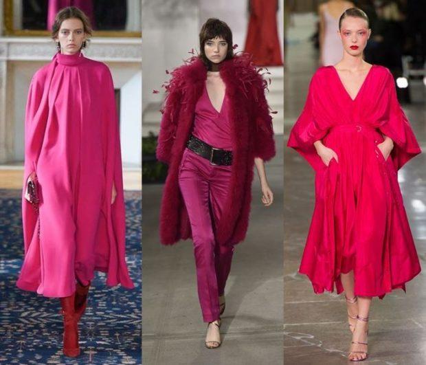 малиновое платье мили брючный костюм розовое платье миди