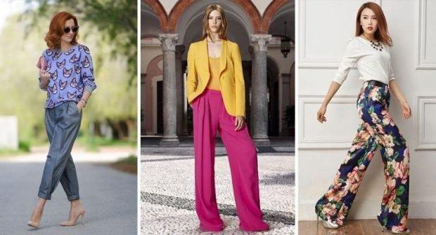 серые брюки короткие малиновые свободные цветные широкие штаны под каблук