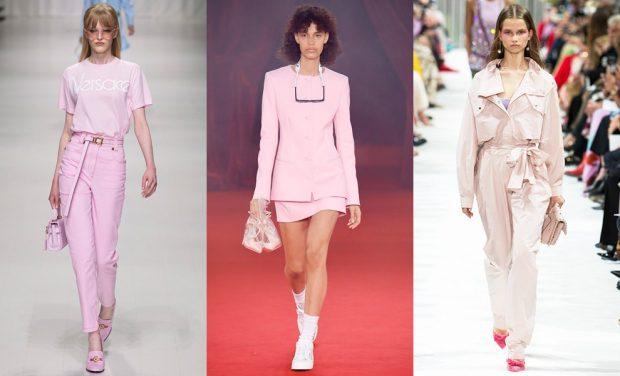 бледно-розовая мода брюки и футболка юбка и жакет комбинезон