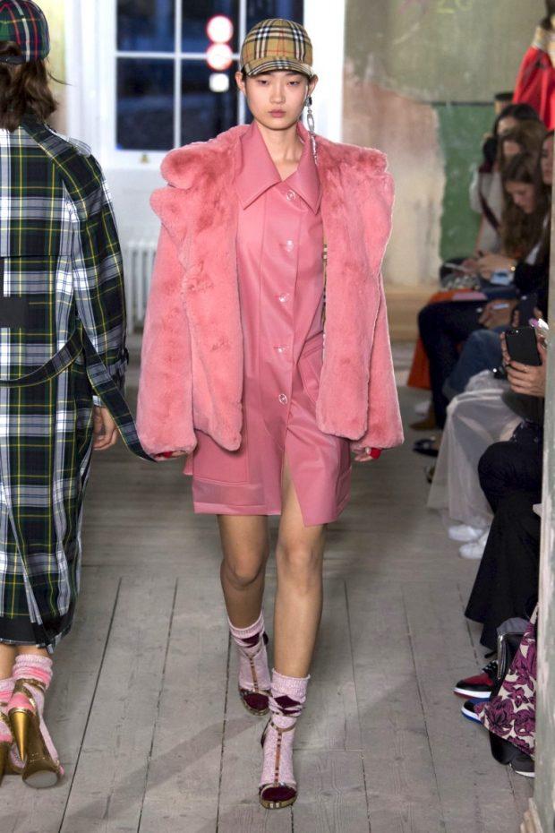 розовое платье-рубашка полушуба