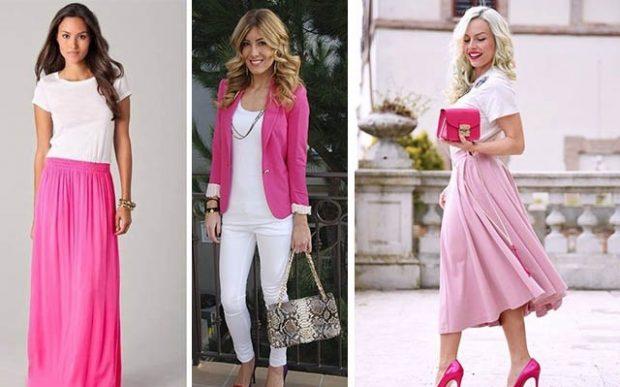 розовое с белым юбка и футболка брюки и жакет юбка и футболка