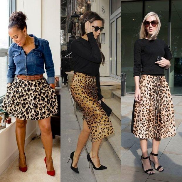 юбки в принт леопарда короткая карандаш юбка А-силуэт