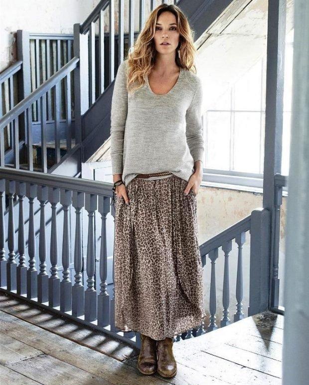 юбка миди в леопардовый принт