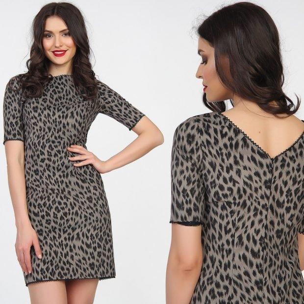 платье леопардовое серое короткое