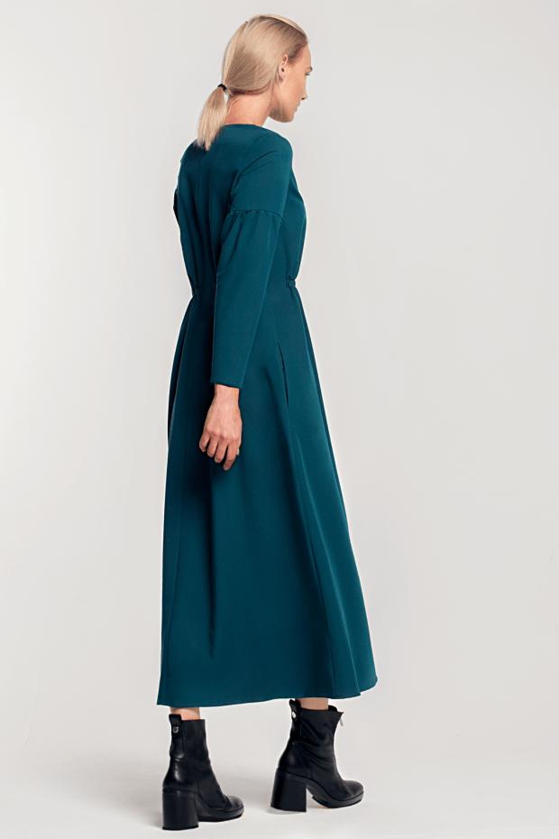 платье миди со сборками зеленое