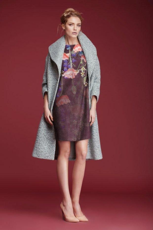 пальто серое под платье в принт