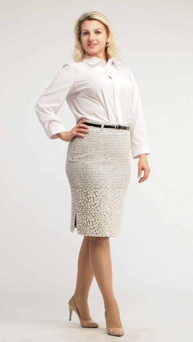 юбка карандаш светлая под рубашку белую