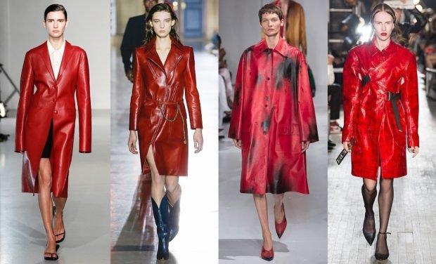 пальто красное кожаное по колено