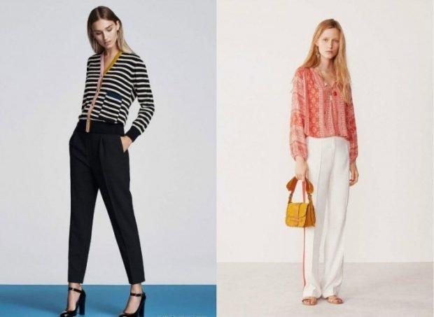брюки черные короткие белые широкие
