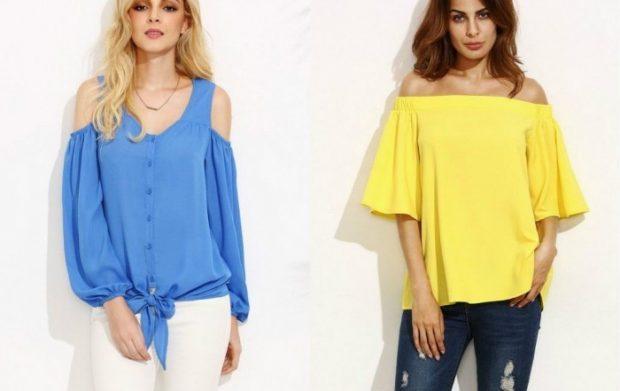 блузки синяя желтая открытые плечи