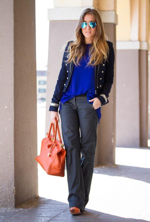 брюки клеш серые под жакет и кофту синюю